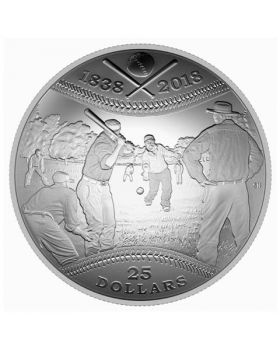 2018 30.75 grams Canada 180th Anniversary Of Canadian Baseball .9999 Silver Proof Coin