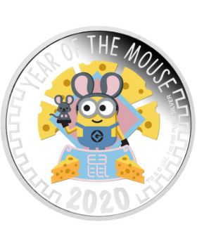 2020 1 oz Niue Despicable Me Minion Made Lunar Year of The Mouse .999 Silver Proof Coin