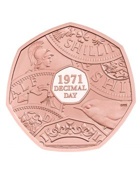 2021 31 gram Great Britain The 50th Anniversary of Decimal Day .9167 Gold Piedfort Proof  Coin