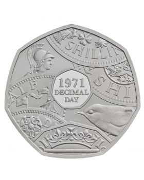 2021 8 gram Great Britain The 50th Anniversary of Decimal Day .925 Silver Proof Coin