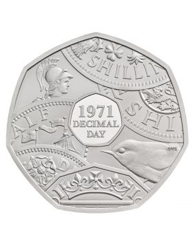 2021 16 gram Great Britain The 50th Anniversary of Decimal Day .925 Silver Piedfort Proof Coin