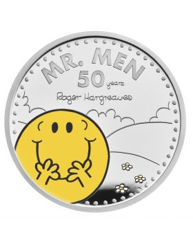 2021 1oz Great Britain The 50th Anniversary of  Mr Men Little Miss- Mr. Happy .999 Silver Coloured Proof Coin (Coin 1)