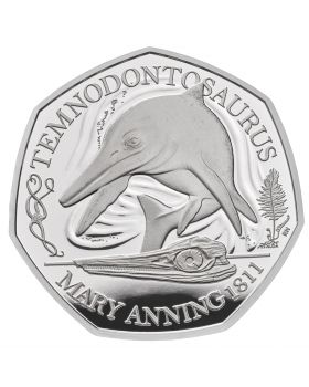 2021 8g Great Britain The Mary Anning Collection- Temnodontosaurus .925 Silver Proof Coin