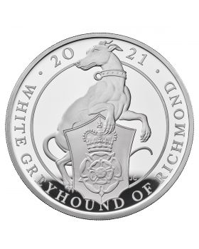 2021 5 oz Great Britain Queen's Beasts - The White Greyhound of Richmond .999 Silver Proof Coin