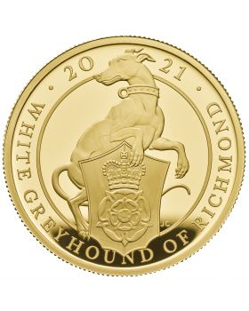 2021 1 oz Great Britain Queen's Beasts - The White Greyhound of Richmond .9999 Gold Proof Coin