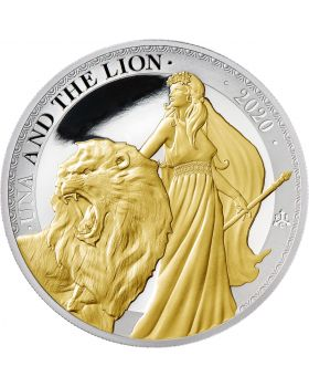 2020 1 oz St Helena Una and the Lion .999 Gold Gilded Silver Proof Coin