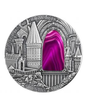 2015 2 oz Niue Crystal Art - Mysteries of Hogwarts Antique .999 Silver High Relief Coin
