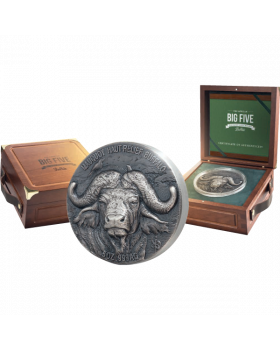 2020 5 oz Ivory Coast Big Five Mauquoy Edition - Water Buffalo .999 Silver High Relief Antiqued Coin