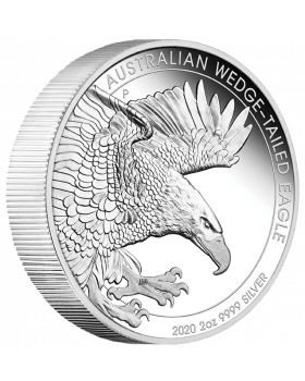 2020 2 oz Australia Wedge Tailed Eagle 9999 Silver Piedfort Proof Coin