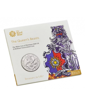 2020 28.28 gram Great Britain The Queen's Beasts - The White Lion of Mortimer Cupro - Nickel Coin BU