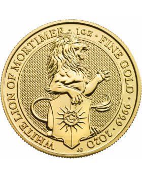 2020 1 oz Great Britain The Queen's Beasts -  The White Lion of Mortimer .9999 Gold Coin