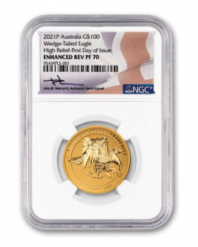 2021 1oz Australia Wedge Tailed Eagle 9999 Gold High Relief Enhanced Reverse Proof Coin (NGC P70 FDI with Mercanti Signature)