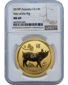 2019 1 oz Australia Lunar Series II Year of the Pig .9999 Gold Coin (NGC MS69)