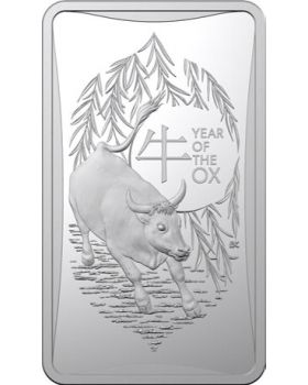 2021 1/2oz Australia Lunar Year of the Ox .999 Silver Ingot Frosted Uncirculated Coin