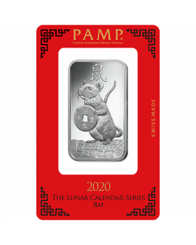 2020 1 oz Pamp Suisse Lunar Year of the Mouse .999 Silver Bar (In Assay)