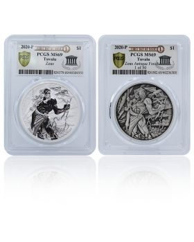 2020 1 oz Tuvalu Gods of Olympus - Zeus .9999 Silver Coin 2 Coin Set (PCGS MS69 First Day of Issue Exclusive Label)