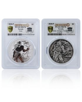 2020 1 oz Tuvalu Gods of Olympus - Zeus .9999 Silver Coin 2 Coin Set (PCGS MS70 First Day of Issue Exclusive Label)