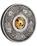 2020 1 oz Tuvalu Year of the Mouse Rotating Charm .9999 Silver Antiqued Coin