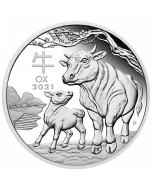 2021 1 oz Australia Lunar Series III - Year of the Ox .9999 Silver Proof Coin
