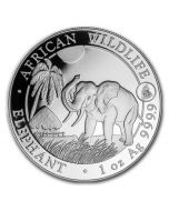 2017 1 oz Somalia African Elephant Rooster Privy .9999 Silver Coin BU (Spotted)