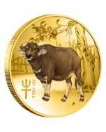 2021 1/10 oz Australia Lunar Year of the Ox Special Release .9999 Gold Coloured BU Coin