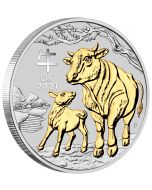 2021 1 oz Australia Lunar Series III - Year of the Ox .9999 Silver Gilded Proof Coin