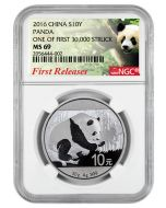 2016 30 gram China Panda .999 Silver Coin NGC MS69 First Release - First 30,000 Struck