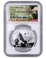 2016 30 gram China Panda .999 Silver Coin (NGC MS70 First Release - First 30,000 Struck)