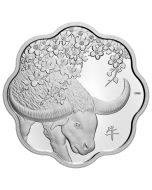 2021 26.7 gram Canada Lunar Lotus : Year of the Ox .9999 Silver Proof Coin