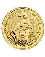 2021 1/4 oz Great Britain Queen's Beasts - The White Greyhound of Richmond .9999 Gold Coin BU