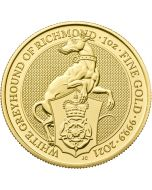 2021 1 oz Great Britain Queen's Beasts - The White Greyhound of Richmond .9999 Gold Coin BU