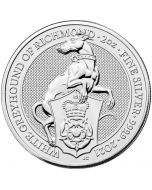 2021 2 oz Great Britain Queen's Beasts - The White Greyhound of Richmond .9999 Silver Coin