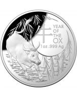 2021 1oz Australia Lunar Year of the Ox .999 Silver Domed Proof Coin