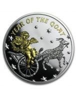 2015 1/2oz Niue Year of the Goat with Angel .999 Gilded Silver Proof Coin