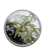 2014 1oz Singapore Native Orchids of Singapore Coelogyne Rochussenii .999 Silver Proof Coin
