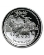 2015 1oz Australia Lunar Series II - Year of the Goat .999 Silver High Relief Proof Coin