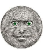 2014 1 oz Mongolia Wildlife Protection Manul .999 Silver Antique Finished