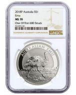2018 1oz Australia Emu .9999 Silver Coin (NGC MS70 One of First 600 Struck)