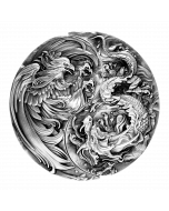 2021 2oz Chad The Eternal Bond : Chinese Dragon And Chinese Phoenix .999 Silver Antique High Relief Coin Two Coin Set