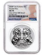 2020 1 oz Australia Guardian Lions (Double Pixiu) 9999 Silver Coin (NGC MS70 One of First 500 Struck)