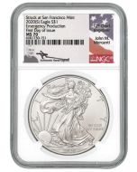 2020 (s) America Eagle - Emergency Production 999 Silver Coin (NGC MS70 FDI Mercanti Signature)