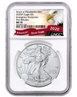 2020 1oz America Eagle .999 Silver Coin (Emergency Production NGC MS70 First Release Exclusive Eagle Label)