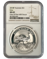 2018 1oz Australia Emu .9999 Silver Coin (NGC MS69 One of First 600 Struck)