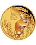 2020 1 oz Australia Lunar Series III - Year of the Mouse .9999 Gold Coloured Proof Coin