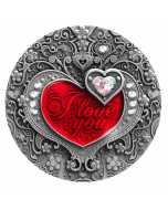 2020 2 oz Niue I Love You Heart .999 Silver High Relief Antique Coin with Swarovski Elements