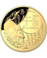 2021 1oz Australia Lunar Year of the Ox .9999 Gold Domed Proof Coin