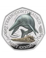2021 8g Great Britain The Mary Anning Collection- Temnodontosaurus.925 Silver Proof Colour Coin