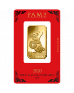 2020 1 oz Pamp Suisse Lunar Year of the Mouse 9999 Gold Bar (In Assay)