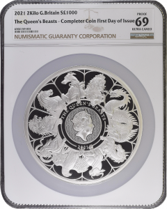 2021 2 Kg Great Britain Queen's Beasts Completer .999 Silver Proof Coin NGC PF69 (Cert# 4)