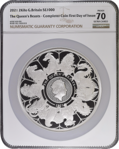 2021 2 Kg Great Britain Queen's Beasts Completer .999 Silver Proof Coin NGC PF70 (Cert# 2)